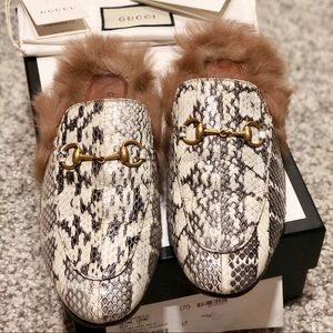 GUCCI | Princeton Snakeskin Fur-Trim Loafers